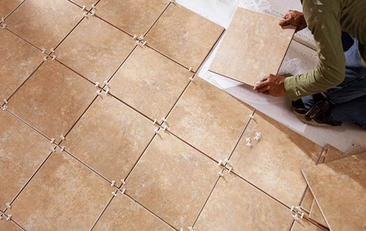 Setting floor tile